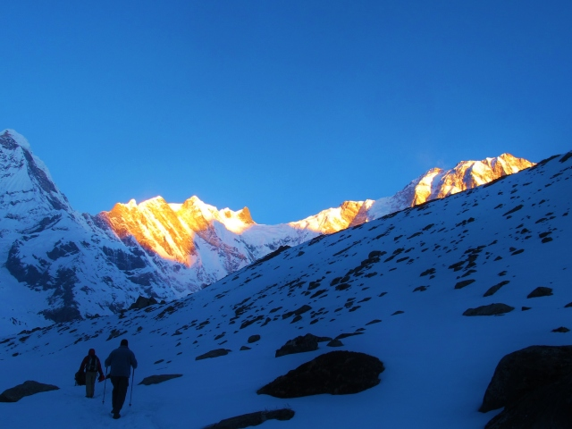 The Annapurna mountain range at first light (altitude just over 4,000 meters).