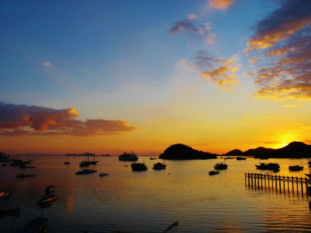 Sunset at Labuan Bajo, west Flores' port town and the ideal dropping-off point for Komodo boat trips .... the area around the town also offers some good birding.