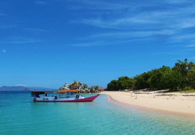 Bidadari Island, offshore from Labuan Bajo on Flores; Komodo national park has many similar small islands with clear water, white sand beaches, unspoiled coral and no one else around to share it with.