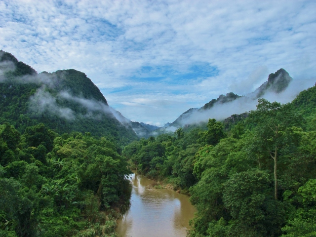Early morning from the road through the Phong Nha-Ke Bang National Park.